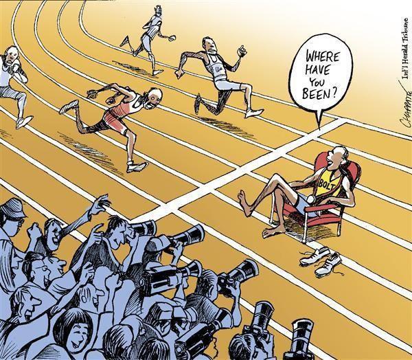 """كاريكاتير ساخر لـ"""" بولت """"وهو يسأل منافسيه  """" أين كنتم"""" بعد اضافة ذهبية الكومنولث لسجل انجازاته ؟"""