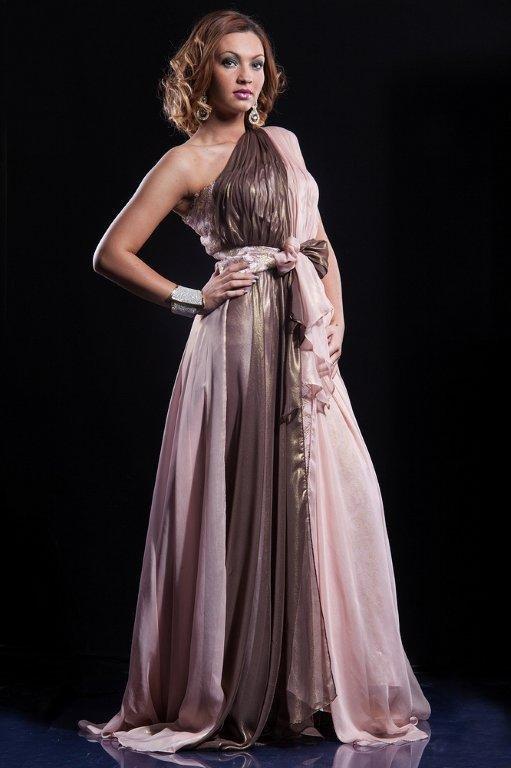 Sublime robe de soirée en mousseline marron glacé et rose poudré