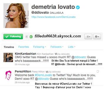 Demi est de retour sur Twitter ! (2)