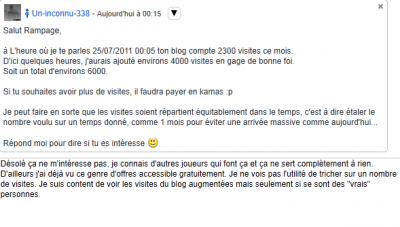 Un tricheur menace mon Blog....