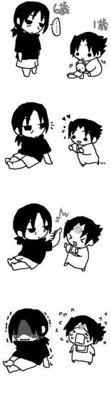 Itachi poking Sasuke xD