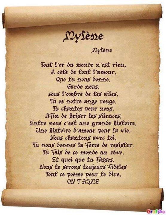 poésie pour Mylène, pas moi qui les fait mais je le transmet car joliment bien dis.