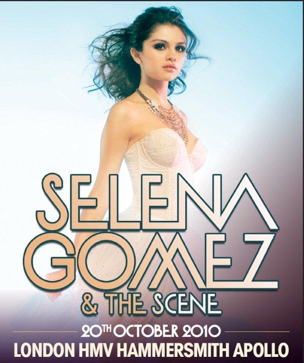 .  Voici l'affiche pour le concert du groupe Selena and The Scene à Londres, le 20 Octobre. .