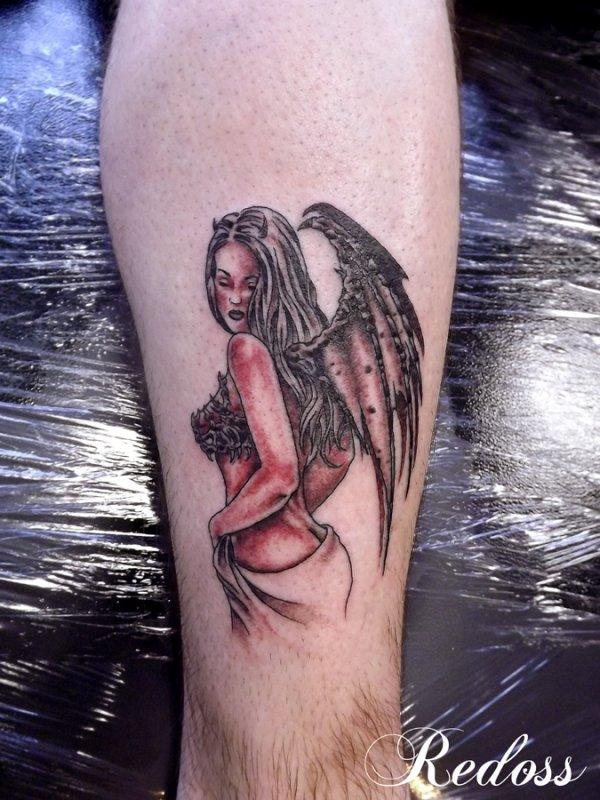 Femme Demon Sur Le Mollet Redoss Tattoo