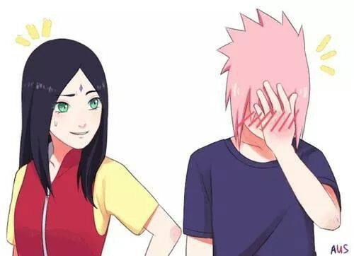 Sasuke les cheveux rose xD