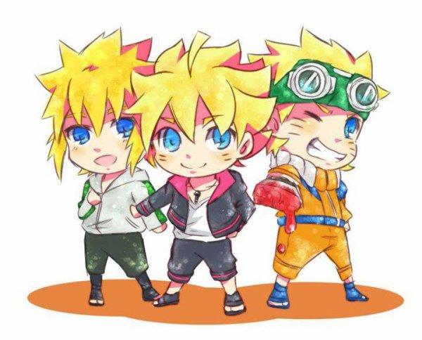 Minato, Boruto & Naruto chibi <3 :3