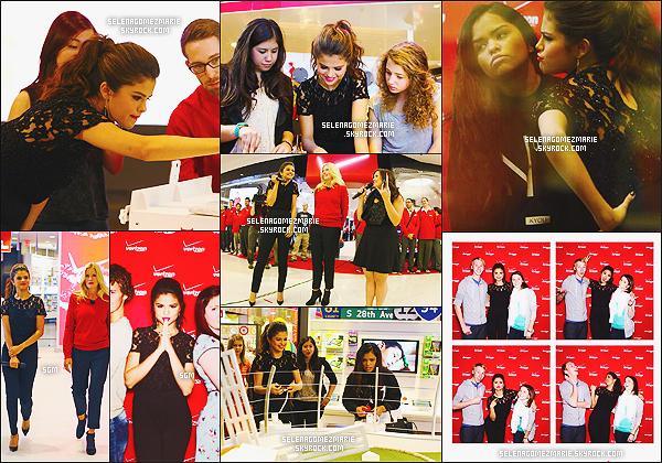 . 20/11/13 - Selena Marie Gomez était présente à l'inauguration de la boutique « Verizon Wireless ».  Selena à réalisée un photocall avec certains fans chanceux. TOP pour la tenue. Et vous, vous aimez la tenue ? Le make-up ?  .