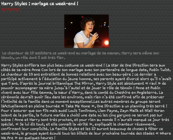 Harry Style : marriage ce week-end !