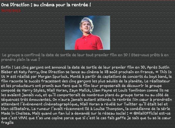 One Direction : ua cinéma pour la rentrée !