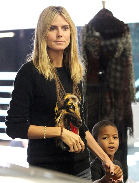 Model Heidi Klum with her son Johan spotted out and about in Brentwood, CA