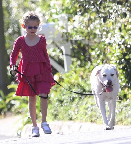 Six-year-old Violet took the lead today as she and her family walked the dogs through their Pacific Palisades, California neighborhood (January 1)