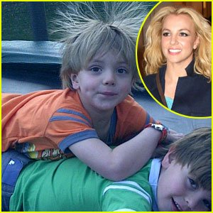 Britney Spears' boys get silly on a trampoline in this new photo shared on the pop princess' Twitter account