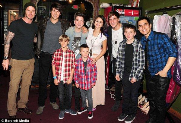 Nice one, Dad! David Beckham takes his boys to meet teenage dream Selena Gomez