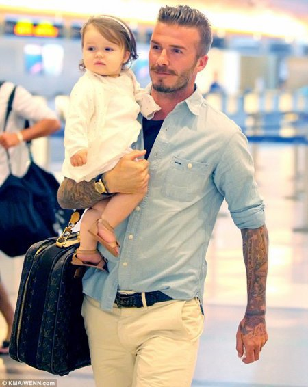 David Beckham with his daughter Harper Seven