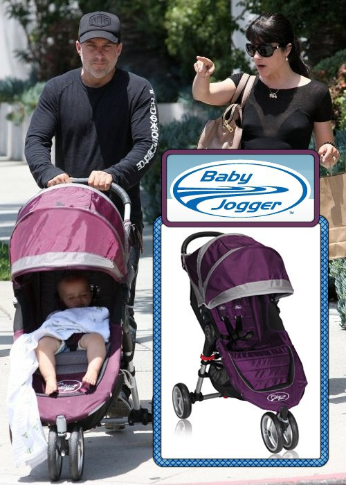 Arthur rides in a Baby Jogger City Mini Stroller in Purple,Grey – $199.99