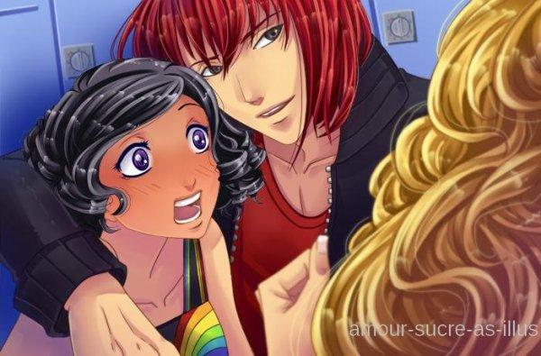 Sucrette : Cheveux bouclée,noir,yeux rouge. (Que les illustrations avec une sucrette.)