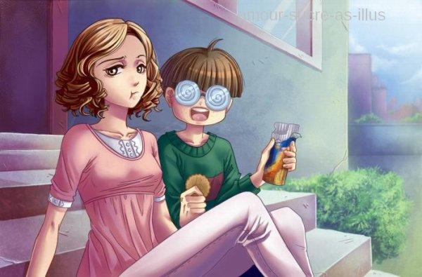 Sucrette : Cheveux bouclée,brun,yeux marron. (Que les illustrations avec une sucrette.).