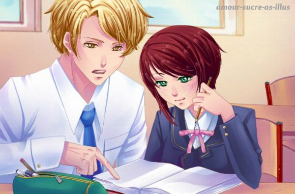 Sucrette : Cheveux court,rouge,yeux vert. (Que les illustrations avec une sucrette.).
