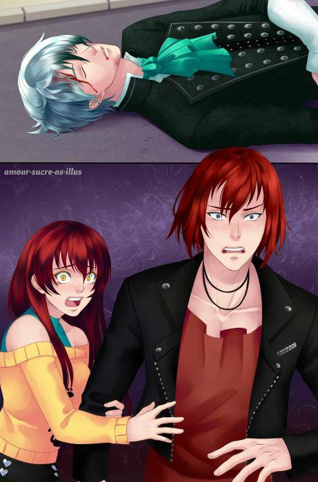 Sucrette : Cheveux long,rouge,yeux jaune. (Que les illustrations avec une sucrette.)