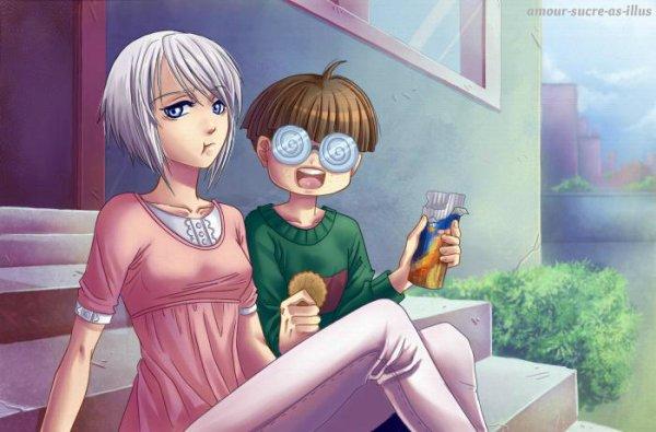 Sucrette : Cheveux court,blanc,yeux bleu. (Que les illustrations avec une sucrette.).