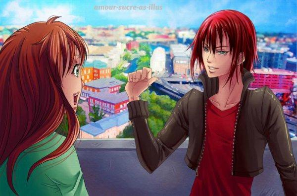 Sucrette : Cheveux long,rouge,yeux vert. (Que les illustrations avec une sucrette.)