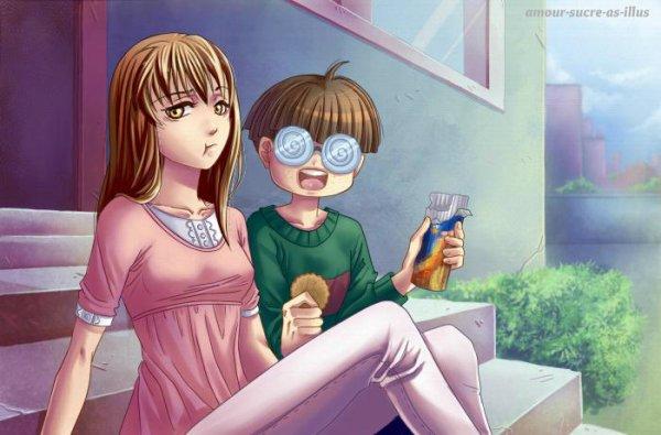 Sucrette : Cheveux longs,marron,yeux jaune. (Que les illustrations avec une sucrette.)