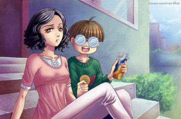 Sucrette : Cheveux bouclée,noir,yeux marron. (Que les illustrations avec une sucrette.)