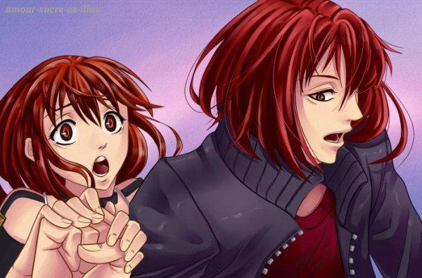 Sucrette : Cheveux long,rouge,yeux rouge. (Que les illustrations avec une sucrette.)