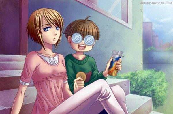 Sucrette : Cheveux court,marron,yeux bleu. (Que les illustrations avec une sucrette.)