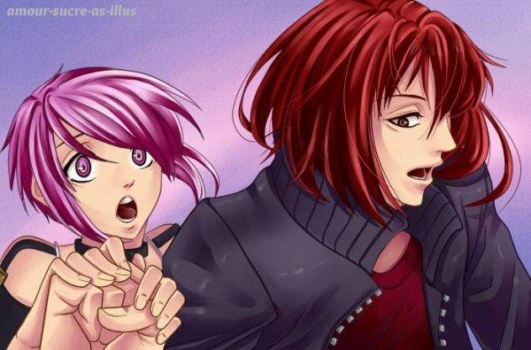 Sucrette : Cheveux court,rose,yeux rose. (Que les illustrations avec une sucrette.)