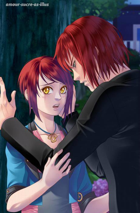 Sucrette : Cheveux court,rouge,yeux jaune. (Que les illustrations avec une sucrette.)