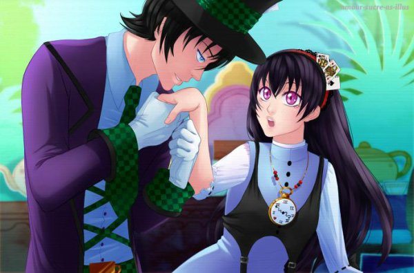 Sucrette : Cheveux long,noir,yeux Rose. (Que les illustrations avec une sucrette.)