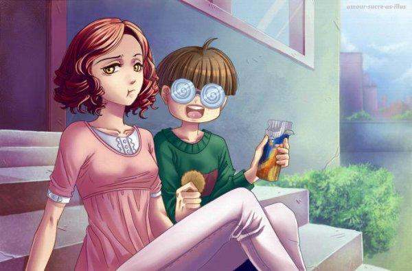 Sucrette : Cheveux bouclé,rouge,yeux jaune. (Que les illustrations avec une sucrette.)