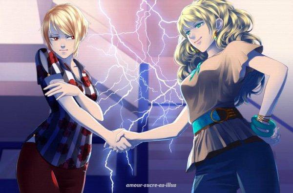 Sucrette : Cheveux court,blond,yeux rouge. (Que les illustrations avec une sucrette.)
