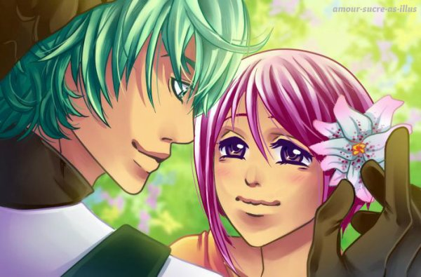 Sucrette : Cheveux court,rose,yeux violet. (Que les illustrations avec une sucrette.)