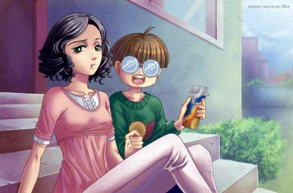 Sucrette : Cheveux bouclée,noir,yeux noir. (Que les illustrations avec une sucrette.)