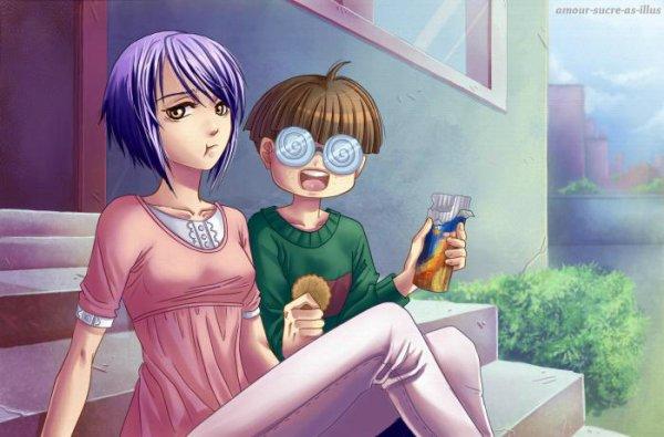 Sucrette : Cheveux court,violet,yeux marron. (Que les illustrations avec une sucrette.).