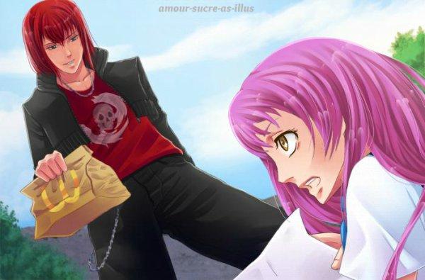Sucrette : Cheveux longs,rose,yeux jaune/rose. (Que les illustrations avec une sucrette.)
