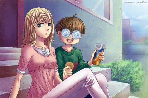 Sucrette : Cheveux long,blond,yeux gris. (Que les illustrations avec une sucrette.)