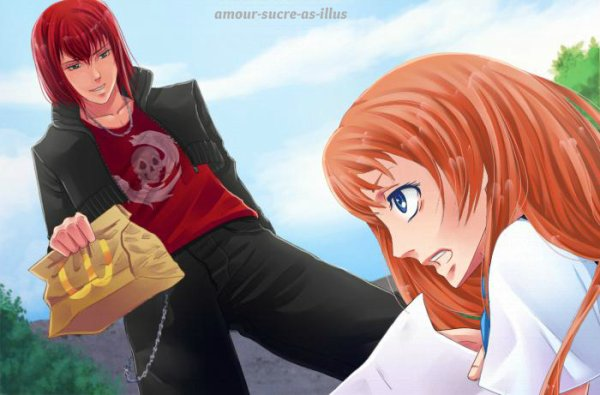 Sucrette : Cheveux long,roux,yeux bleu. (Que les illustrations avec une sucrette.)