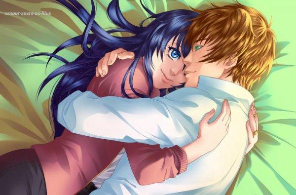 Sucrette : Cheveux longs,bleu,yeux bleu. (Que les illustrations avec une sucrette.)