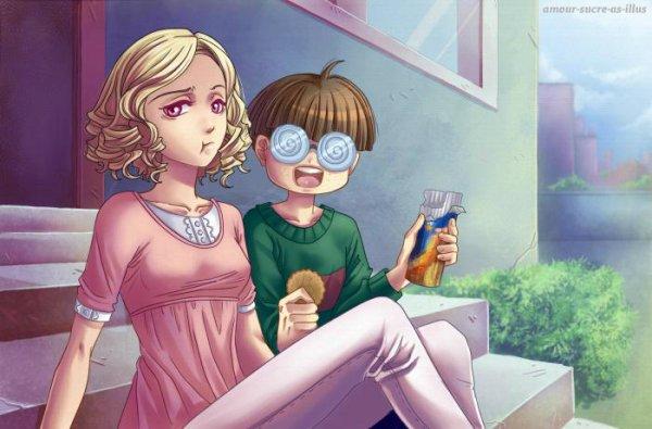 Sucrette : Cheveux bouclée,blond,yeux rose. (Que les illustrations avec une sucrette.)