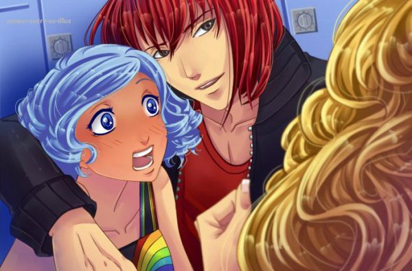Sucrette : Cheveux bouclé,bleu clair,yeux bleu. (Que les illustrations avec une sucrette.)