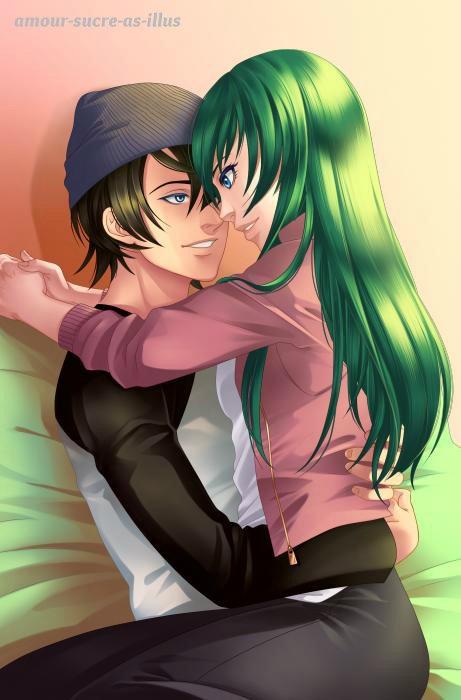 Sucrette : Cheveux long,vert,yeux bleu/vert. (Que les illustrations avec une sucrette.)