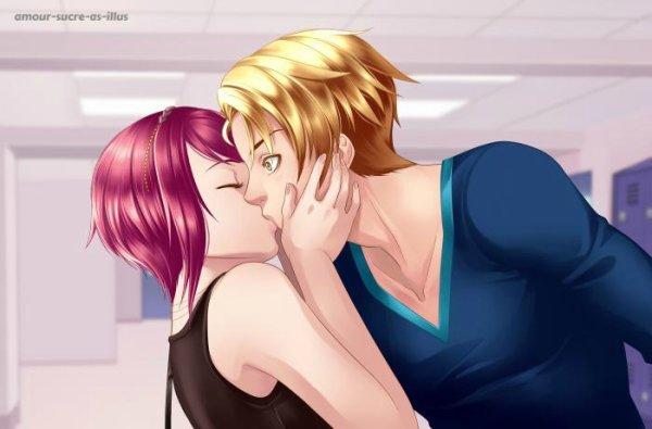 Sucrette : Cheveux court,rose,yeux jaune. (Que les illustrations avec une sucrette.)