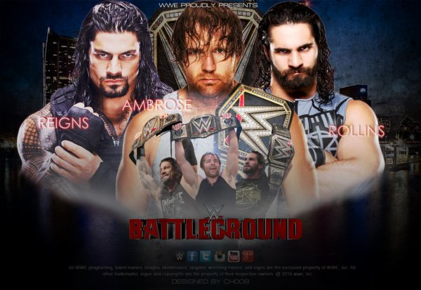 Le Champion du Monde Poids-Lourds de la WWE Dean Ambrose vs. Roman Reigns vs. Seth Rollins (Match Triple Menace)