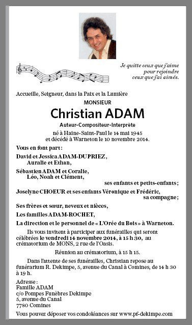 DECES DE CHRISTIAN ADAM