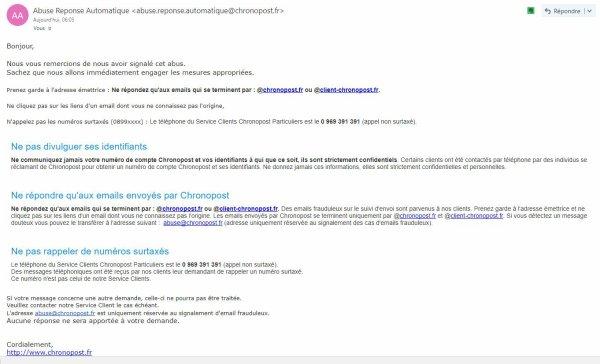 ATTENTION ARNAQUE PAR EMAIL CHRONOPOST INTERNATIONAL