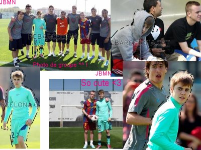 Justin Bieber avec l'équipe de Foot de Barcelone.