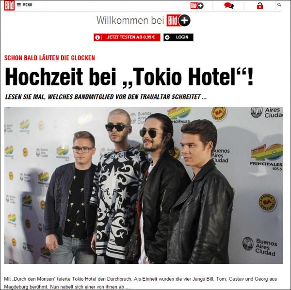 Bild.de Mariage chez Tokio Hotel